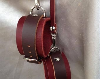 Restraints leather cuffs heavy latigo leather, slave cuffs submissive cuffs all handmade