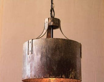 Rustic Aged Metal Cylinder Pendant Light Fixture Rivets & Hand Made and Finished