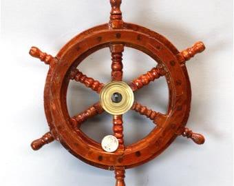 "9"" Ship's Steering Wheel Wood Antique Style Teak Brass Nautical Home Furniture"