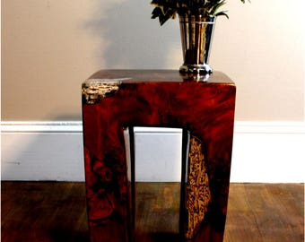 Burl Teak Wood Root and Clear Resin Lucite Plastic End Side Night Table