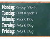 Days of the Week Classroom Decals, Whiteboard Decal, Classroom Decor, Classroom Wall Decal, Classroom Art, Classroom Sign, Chalkboard Decal