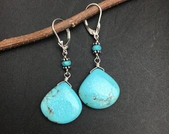Long Kingman Mine Turquoise Earrings, Turquoise Earrings, Silver Earring, Gemstone Earrings, Blue Stone Earrings, Earrings Under 150