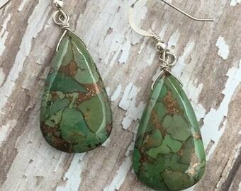 Green Mojave Turquoie Earrings, Green Stone Earrings, Copper Earrings, silver Earrings, Gemstone Earrings, Earrings Under 150