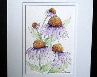 Purple Cone Flowers - Original Watercolor and Pen and Ink Painting