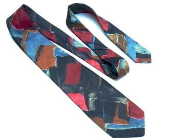 Vintage Polyester Tie,Teal, Burgundy, Bronze & Black Abstract Print Tie,Benjamin Harris Necktie,80s Pop Art Tie,Gender Neutral Accessories
