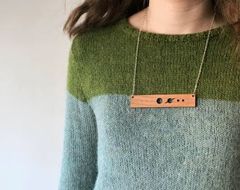 Solar system necklace with Pluto, laser cut necklace, geek chic necklace statement necklace, geek jewelry, science necklace, gifts for geeks