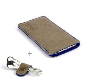 Leather Samsung Galaxy Note 8 case. Sand color leather Blue wool felt lining Galaxy Note 8 leather sleeve. Leather Galaxy Note 8 pouch