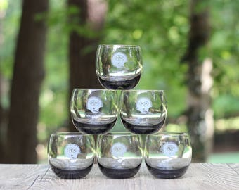 Set of Six Vintage New York Jets Novelty Lowball Roly Poly Tumblers / New York Jets Barware / New York Jets Roly Poly / New York Jets Gift