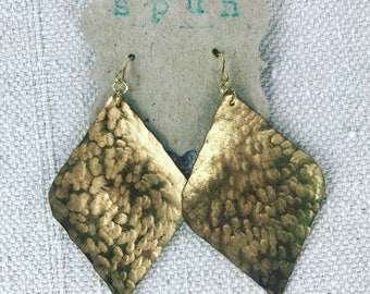 Hamnered Brass Earring