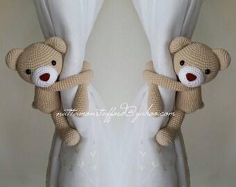 A pair of Bear Curtain Tiebacks,(Both sides)  MADE TO ORDER..