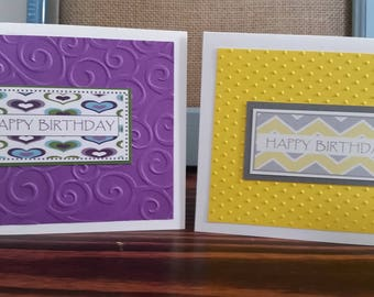 Birthday Card Set; Gorgeous Handmade Greeting Cards; Colorful Embossed Cards; Fun Colors
