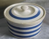 Cornish Ware Blue and White Lidded Bowl. c1930s Vintage. TG Green. Kitchen Chic.