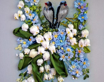 Forget-me-nots and lilies of the valley Embroidered picture  Embroidery with silk ribbons  the size 30 х 20 cm (11.8 inches x 7.8 inches)