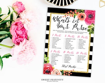 Bridal Shower Purse Game, Bridal Shower Game Printable, What's in Your Purse, Black and White Stripes, Spade, Pink Watercolor Floral