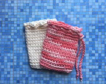 Crochet Soap Saver, Spa Soap Pouch, Cotton Soap Bag, Off White, Handmade by KathysYarnCreations