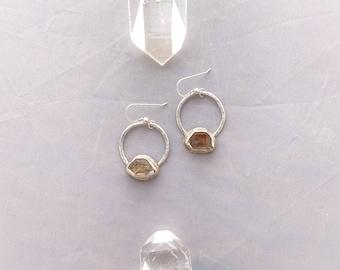 Herkimer Diamond Hoops / handmade jewelry / raw crystal quartz earrings silver and brass / rustic earthy