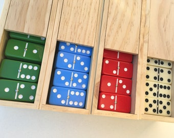 ENGRAVED or BLANK Set of 28 Jumbo Red, Green, Blue  or Ivory Double-Six Dominoes in Wooden Box Game Night Holiday Christmas Gift