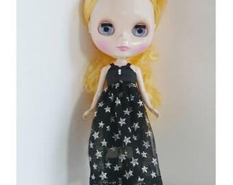 blythe doll, blythe dress, black dress, silver star dress.black lace,