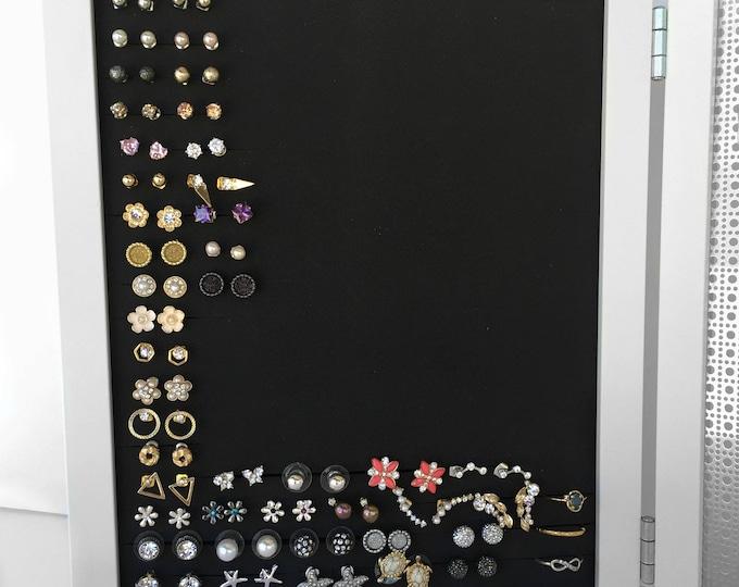 Earring Organizer - White Double Frames - 8x10 Size - Hook & Stud Earring Holder