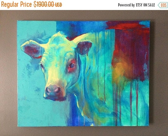 "ON SALE ORIGINAL Painting ""Blue Cow"""