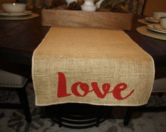 Love Table Runner, Burlap Table Runner, Valentine Table Runner,