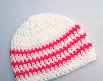 Girls Newborn Baby Beanie Ready To Ship Girls Hat White and Tropical Pink Crochet Baby Beanie Baby Shower Gift Baby