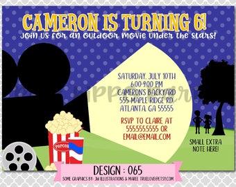 Outdoor Movie Night, Drive In Movie, Theater:Design #065-Children's Birthday Invitation, Personalized, Digital, Printable, 4x6 or 5x7 JPG
