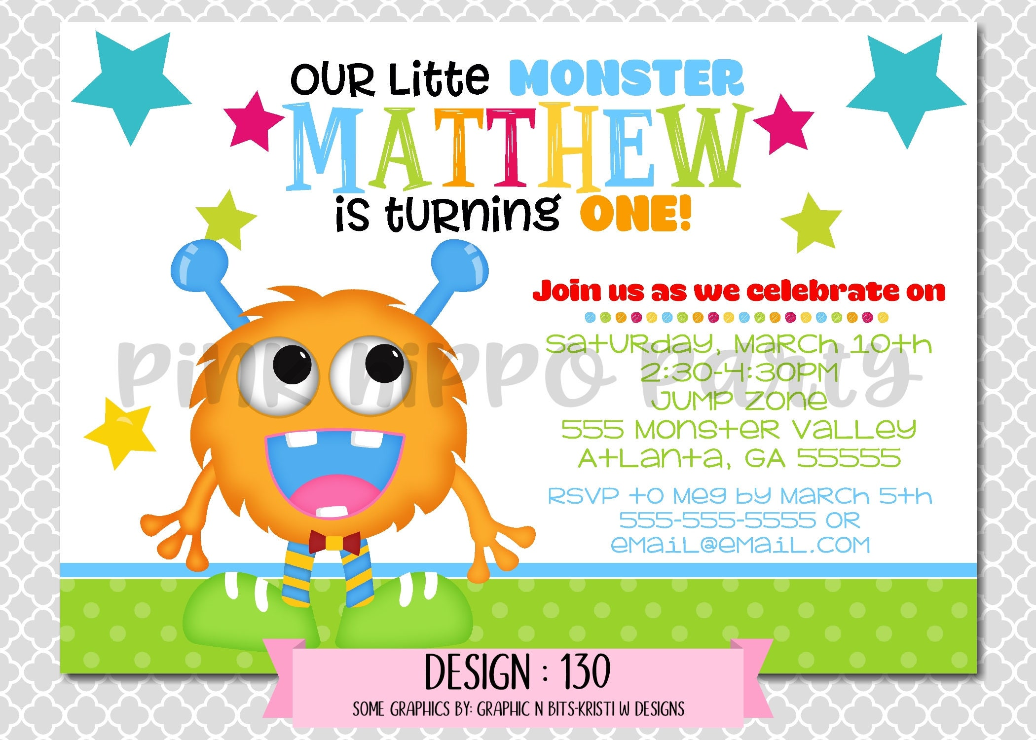 Monster Boy Birthday Design 130 Children s Birthday Party Digital