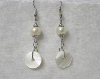 Pearl and Mother of Pearl earrings- Unique- one of a kind- Surgical steel earrwires CCS174