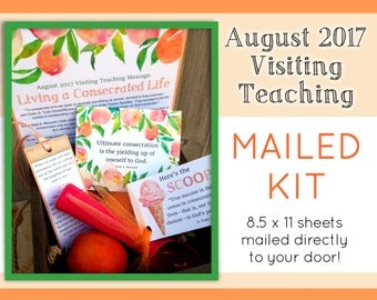 MAILED KIT - August 2017 Visiting Teaching, MAILED 8.5 x 11 sheets, Lds Relief Society
