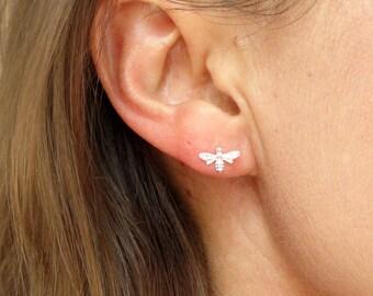 Sterling silver bee earrings, Bee earrings, Cute silver bee earrings, Bee jewellery
