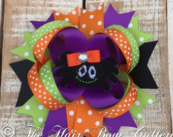 Halloween Hair Bow - Spider boutique bow - Halloween Spider Hair Bow - Spider Feltie Hair Bow