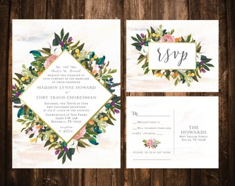 Diamond Muted Blooms Wedding Invitations; Watercolor Floral; Olive; Printable OR set of 25