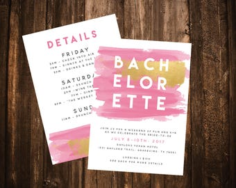 Pink Watercolor Bachelorette Party Invitation; Double-sided; Printable or set of 10