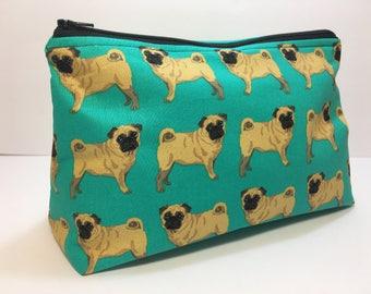 Medium Pug Dog Zippered Makeup Pouch Bag