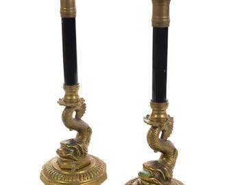 Antique French Brass Candle sticks w/Dolphins - Pair
