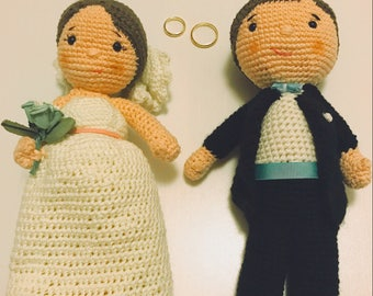 Bride and groom made crochet