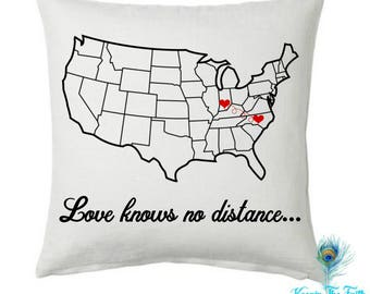 LONG DISTANCE PILLOW Cover - Long Distance Relationship - Long Distance Father and Daughter - Long Distance Family - Love Knows No Distance