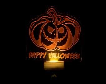 Happy Halloween Pumpkin Night Light - Jack o Lantern Engraved LED Nightlight - Pumpkin Nightlight - Halloween LED Orange Nightlight