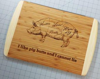 Personalized Butcher Pork Cuts Cutting Board 18x12 - Custom Engraved BBQ Cutting Board - Pig Barbecue - Cuts of Pork Bamboo Chopping Board