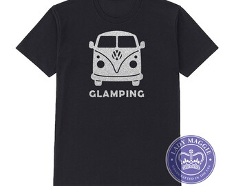 Glamping VW Bus Silver Glitter T-Shirt - Camper Van Shirt - Glitter Camping Shirt Volkswagen Split Screen Bus Kombi Minibus Splitty Combie
