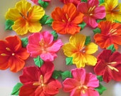 """Royal Icing Flowers in Bright Summer Colors with Leaves & center Stamens 1  1/2"""" - 2"""" size (18 pieces)"""