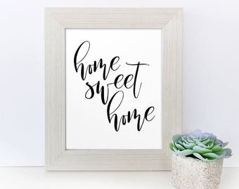home sweet home printable - simple wall art - Home Sweet Home Sign - Typography Art Print - Simple Typography Print - printable quote