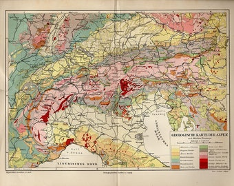 Alps map etsy antique map of italian alps geological 1890s atlas antique map turin map sciox Gallery