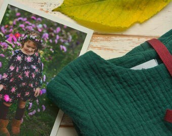 Girls Muslin Long Sleeve Dress Cotton Green