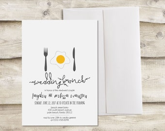 Printed Wedding Brunch Invitation, Wedding Breakfast Invitation, Newlywed Brunch Invitation, Bridesmaid Brunch, Bridesmaid Breakfast Invite