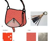 Sac besace en cuir corail, sac avec bandoulière, sac en cuir, coton et porte-clefs en cuir peint à la main