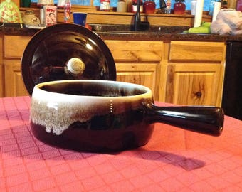 Pfaltzgraff Brown Drip Bowl with handle and lid