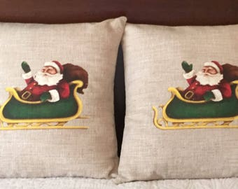 SALE!!!  Christmas Pillow Cover, Santa in his Sleigh Pillow Cover