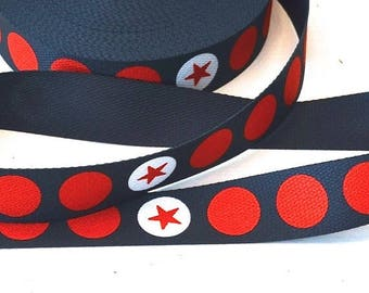 Summer Sale Webbing 3 cm stars n dots dark grey